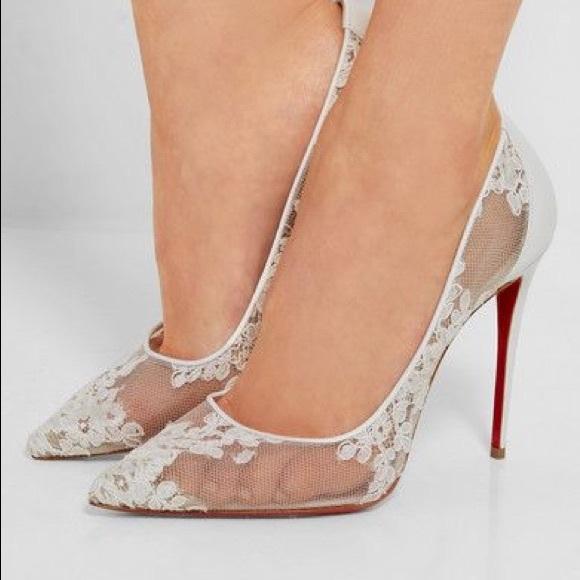49e4e632e2a Christian Louboutin Shoes - Follies white lace